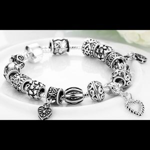 Jewelry - 18K WHITE GOLD PLATED CHARM BRACELET